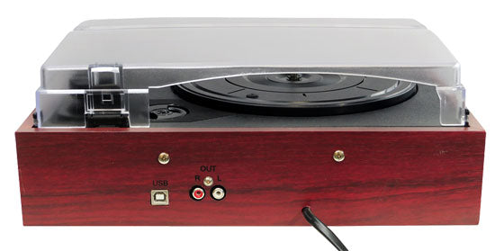 Joan Red Cherrywood Record Player - Back - Clink