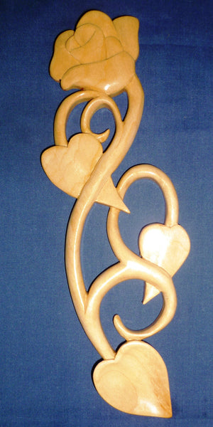 Rose with Two Heart Leaves love spoon