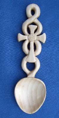 Celtic cross on knotwork love spoon
