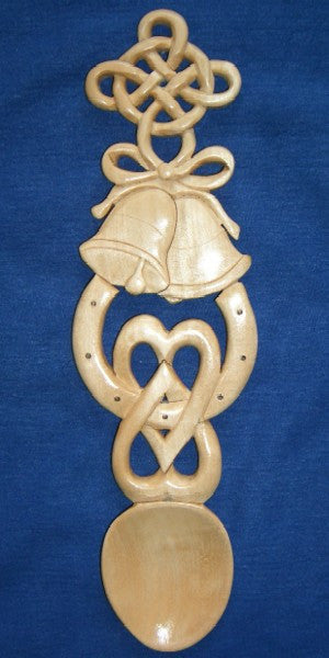 Celtic wedding lovespoon with interlocking hearts