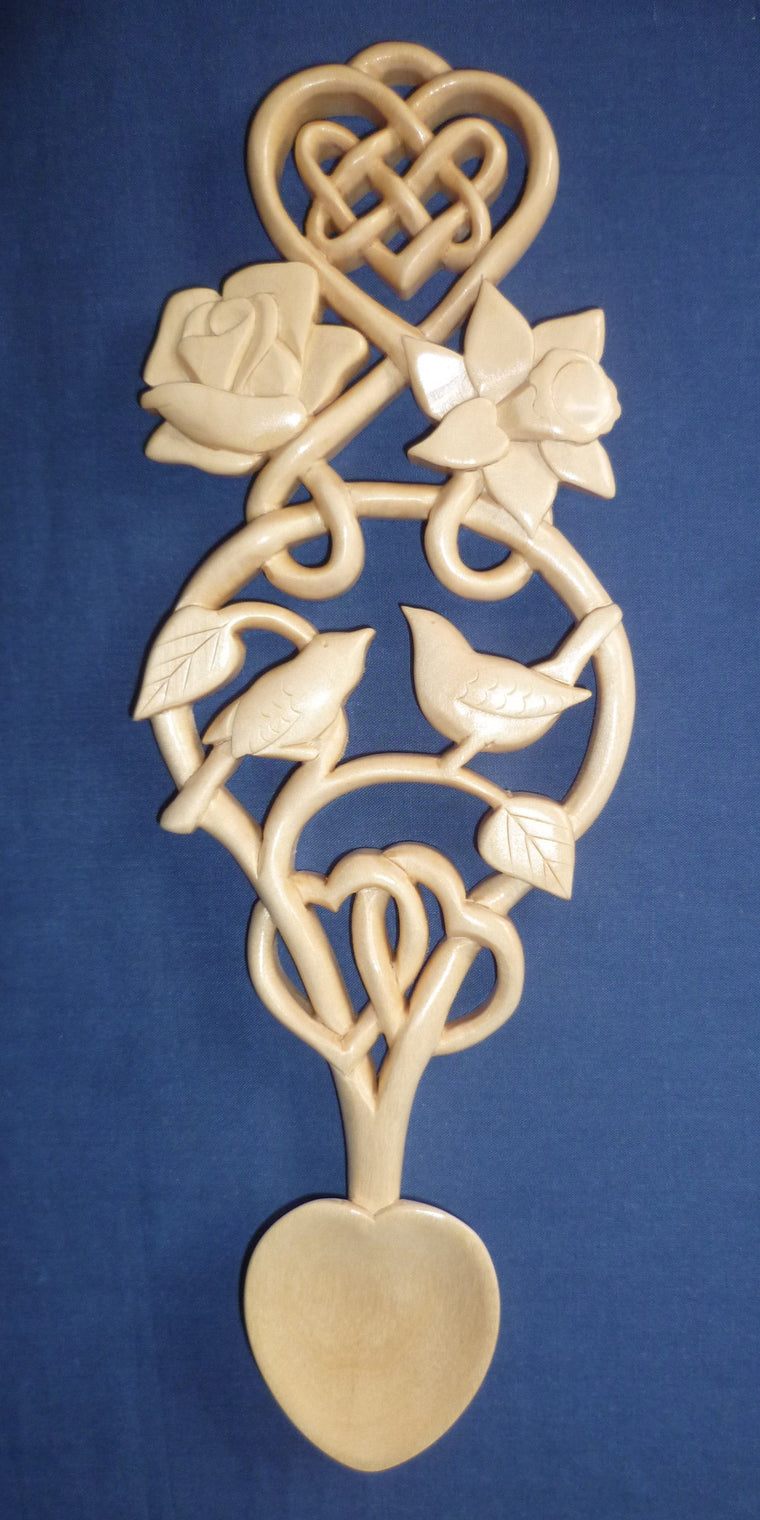 Lovebirds, heart knot, rose and daffodil lovespoon
