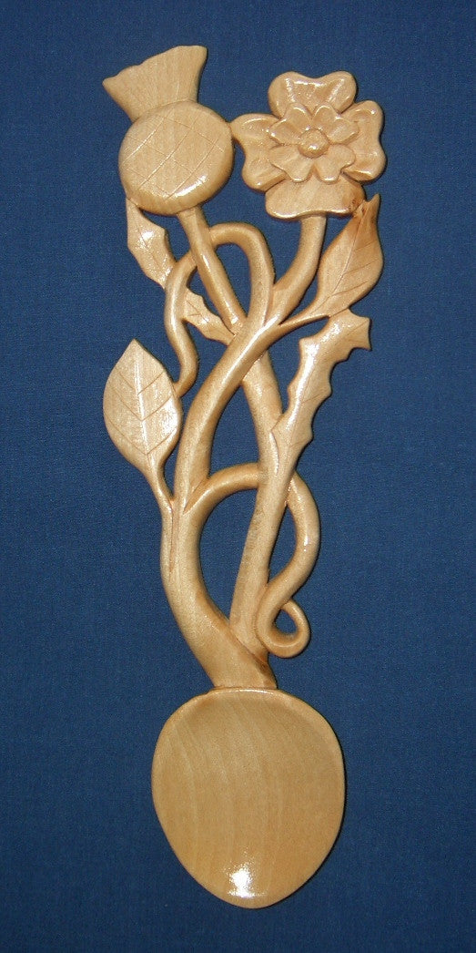 Rose and thistle entwined love spoon
