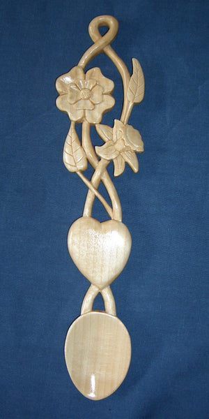 Daffodil rose and heart love spoon