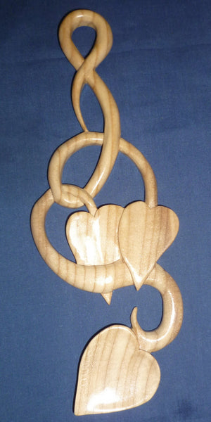 Two Heart Leaves and entwined stem love spoon