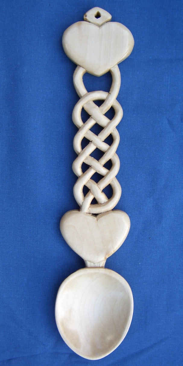 Two Hearts with knotwork love spoon