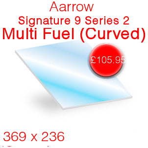 Aarrow Signature 9 Multi Fuel Series 2 (curved) Stove Glass  - 369mm x 236mm
