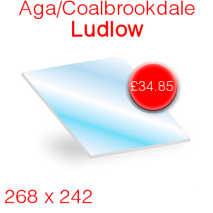 Aga/Coalbrookdale Ludlow Stove Glass - 268mm x 242mm