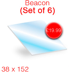 Beacon (set of 6) Stove Glass - 38mm x 152mm