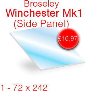 Broseley Winchester MK1 (Side Panel) Stove Glass - 72mm x 242mm