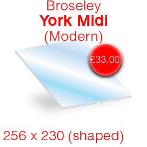 Broseley York Midi Modern Stove Glass – 257mm x 230mm (shaped)