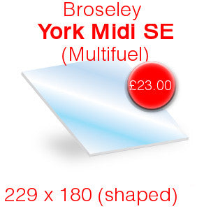 Broseley York Midi SE (multifuel) Stove Glass - 235mm x 180mm (shaped)