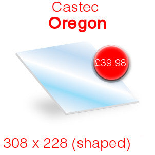 Castec Oregon Stove Glass - 308mm x 228mm (shaped)