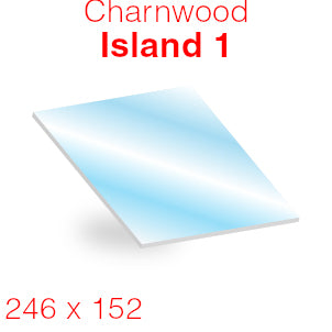 Charnwood Island 1 Stove Glass - 246mm x 152mm (curved)