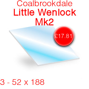 Coalbrookdale Little Wenlock MK2 (Set of 3) Stove Glass - 52mm x 188mm