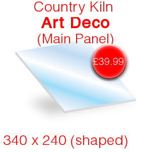 Country Kiln Art Deco (Main Panel) Stove Glass - 340mm x 240mm (shaped)