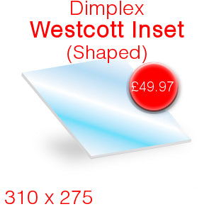 Dimplex Westcott Inset (Shaped) Stove Glass - 309mm x 275mm