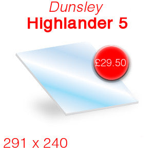 Dunsley Highlander 5 Stove Glass - 291mm x 240mm