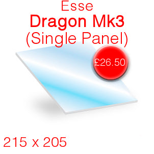 Esse Dragon Mk3 Stove Glass (Single Panel) - 215mm x 205mm (Shaped)