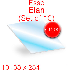 Esse Elan (Set of 10) Stove Glass - 33mm x 254mm