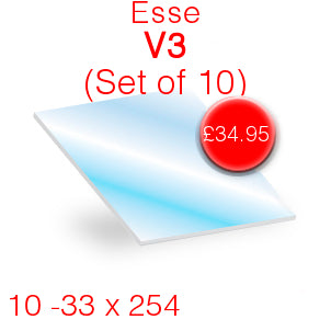 Esse V3 (set of 10) Stove Glass - 33mm x 254mm