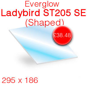 Everglow Ladybird ST205 SE Stove Glass - 295mm x 186mm (Shaped)