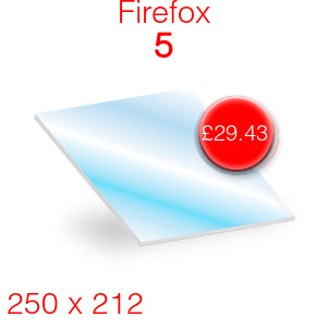 Firefox 5 Stove Glass - 250mm x 212mm