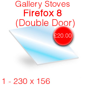 Gallery Stoves Firefox 8 (Double Door) Stove Glass - 230mm x 156mm
