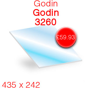 Godin 3260 Stove Glass - 435mm x 242mm
