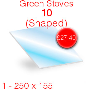 Green Stoves 10 (shaped) Stove Glass - 250mm x 155mm