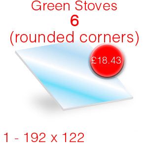 Green Stoves 6 (penny rounded corners) Stove Glass - 192mm x 122mm