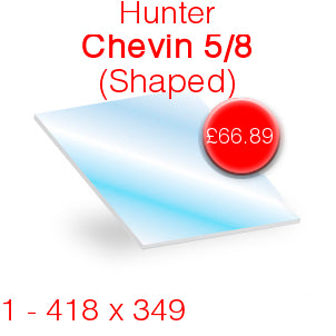 Hunter Chevin 5/8 Stove Glass - 418mm x 349mm (shaped)