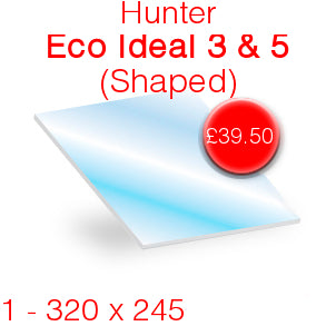Hunter Eco Ideal 3 & 5 Stove Glass - 320mm x 245mm (Shaped)