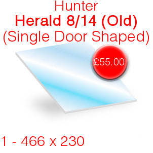 Hunter Herald 8/14 (Old) Single Door Stove Glass - 466mm x 230mm (shaped)