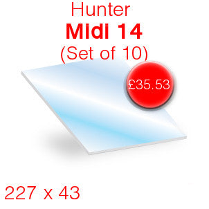 Hunter Midi 14 (Set of 10) Stove Glass - 43mm x 227mm