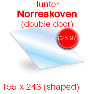Hunter Norreskoven double door Stove Glass - 155mm x 243mm (shaped)