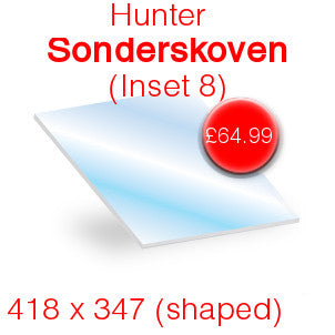 Hunter Sonderskoven Inset 8 Stove Glass - 418mm x 347mm (shaped)