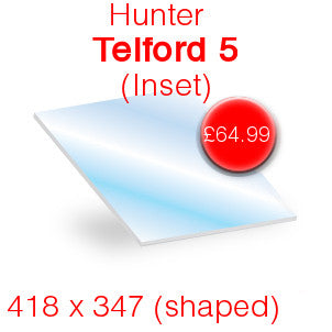 Hunter Telford 5 Inset Stove Glass - 418mm x 347mm (shaped)