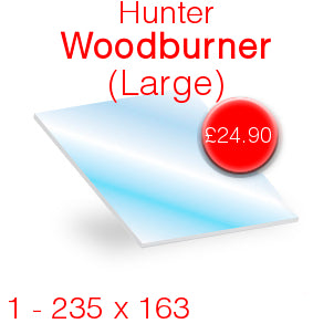 Hunter Woodburner (Large) Stove Glass - 235mm x 163mm