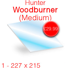 Hunter Woodburner (Medium) Stove Glass - 227mm x 215mm