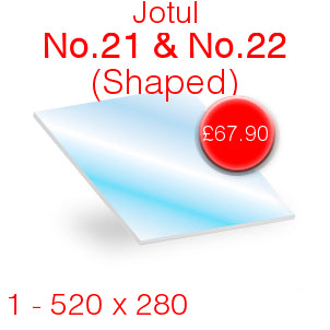 Jotul No.21 & No.22 Stove Glass - 520mm x 280mm (shaped)
