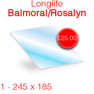 Longlife Balmoral/Rosalyn Stove Glass - 245mm x 185mm