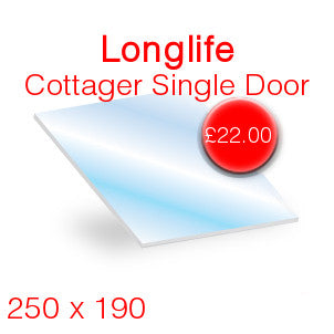 Longlife Cottager Single Door Stove Glass - 250mm x 190mm