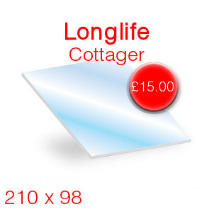 Longlife Cottager Stove Glass - 210mm x 98mm
