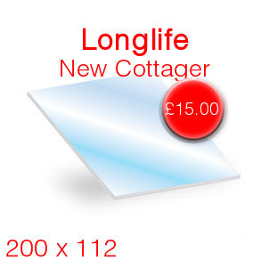 Longlife New Cottager Stove Glass - 200mm x 112mm