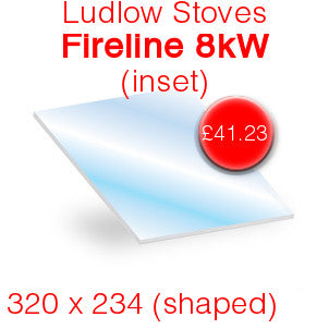 Ludlow Stoves Fireline 8kW Stove Glass - 320mm x 234mm (shaped)