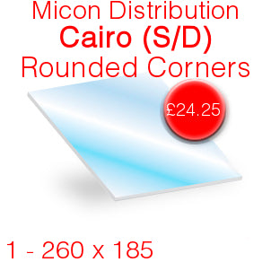 Micon Distribution Cairo (Single Door Model) Rounded Corners Stove Glass - 260mm x 185mm