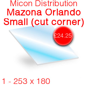 Micon Distribution Mazona Orlando Small (Rounded Corners) Stove Glass - 253mm x 180mm