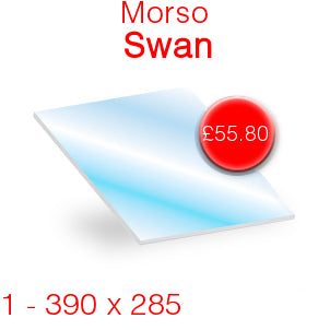 Morso Swan Stove Glass - 390mm x 285mm