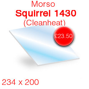 Morso Squirrel 1430 Cleanheat Stove Glass - 234mm x 200mm