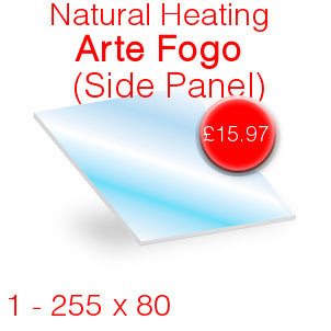 Natural Heating Arte Fogo (Side Panel) Stove Glass - 255mm x 80mm